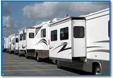 A row of RVs outside